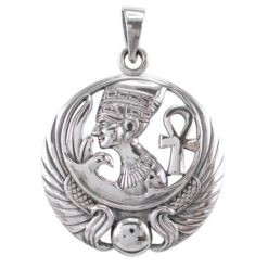 Sterling Silver 30mm Egyptian Symbols & Wings Pendant