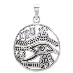 Sterling Silver 28mm Eye Of Ra & Egyptian Symbols Pendant