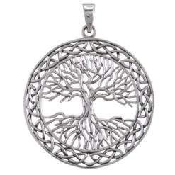 Sterling Silver 40mm Round Celtic Tree Of Life Pendant