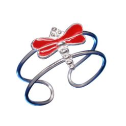 Sterling Silver Red Enamel Dragonfly Toe Ring