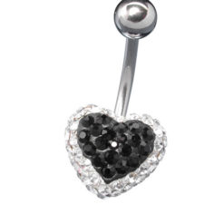 Surgical Steel Black And White Crystal Heart Banana