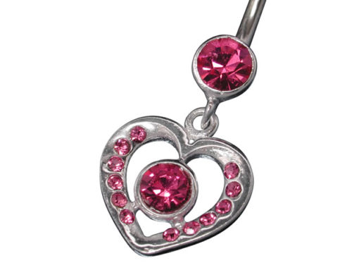 Surgical Steel & Sterling Silver Pink Cubic Zirconia Heart Banana