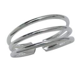 Sterling Silver 7mm Three Band Toe Ring