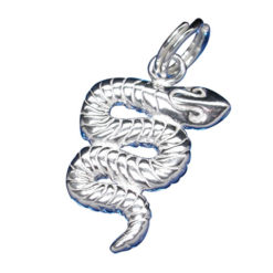 Sterling Silver 17x12mm Snake Charm With Split Ring
