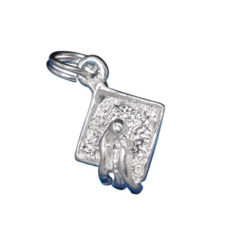 Sterling Silver 11x10mm Graduation Hat Charm With Split Ring