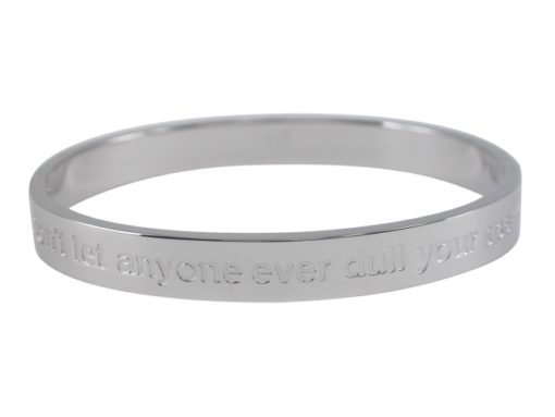 Stainless Steel 8mm Hinged Affirmation Bangle *dont Let Anyone Ever Dull Your Sparkle* 62x55mm