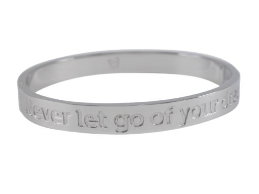 Stainless Steel 8mm Hinged Affirmation Bangle *never Let Go Of Your Dreams* 62x55mm