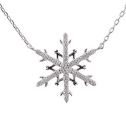 Sterling Silver 18mm White Cubic Zirconia Snowflake Necklet 40-43cm