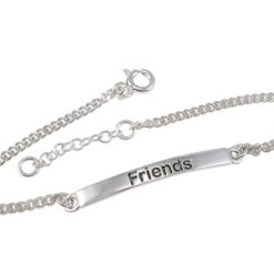 Sterling Silver 3mm Friends Id Bracelet 16-18cm