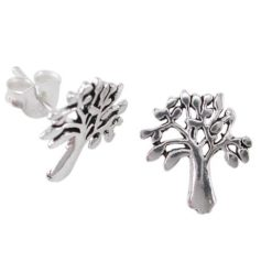 Sterling Silver 12mm Tree Of Life Std Earrings