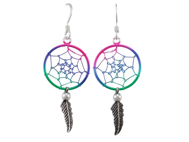Sterling Silver 34x16mm Pink, Blue & Green Single Feather Dream Catcher Drop Earrings