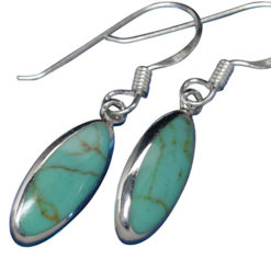 Sterling Silver 14x6mm Green Turquoise Oval Drop Earrings