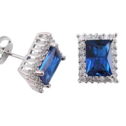 Sterling Silver 10x8mm Blue & White Cubic Zirconia Rectangle Stud Earrings