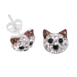 Sterling Silver 8mm Brown Crystal Cat Stud Earrings