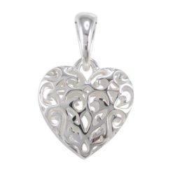 Sterling Silver 20mm Double Sided Filigree Heart Pendant
