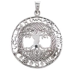 Sterling Silver 35mm Round Celtic Tree Of Life & Zodiac Symbols Pendant