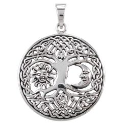 Sterling Silver 30mm Round Tree Of Life & Sun And Moon Pendant