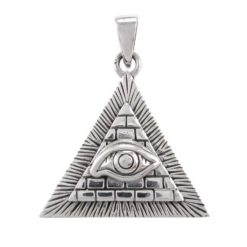 Sterling Silver 26x29mm Egyptian Pyramid & Evil Eye Pendant