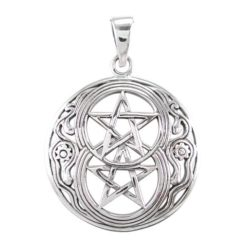 Sterling Silver 28mm Double Pentagram Pendant