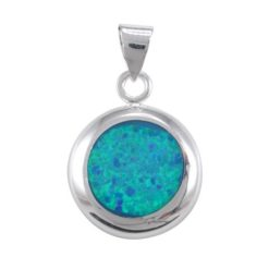 Sterling Silver 15mm Round Synthetic Opal Pendant