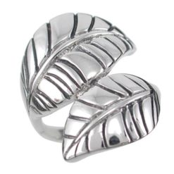 Sterling Silver 23mm Crossover Leaf Ring