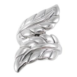 Sterling Silver 31mm Crossover Leaf Ring