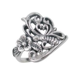 Sterling Silver 17mm Drgaonfly & Flower Ring