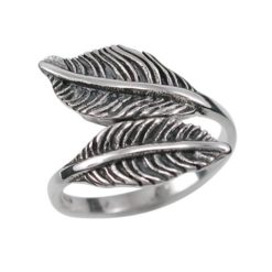 Sterling Silver 15mm Crossover Feather Adjustabile Ring