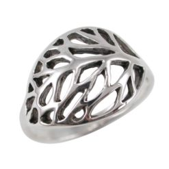 Sterling Silver 12mm Leaf Design Ring