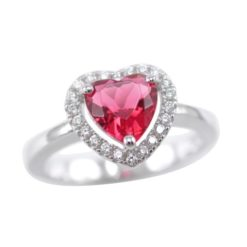 Sterling Silver 9mm Red Cubic Zirconia Heart Ring