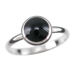 Sterling Silver 8mm Round Black Onyx Ring