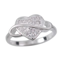Sterling Silver 9mm White Cubic Zirconia Heart & Infinity Ring