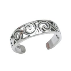 Sterling Silver 4.5mm Scroll Toe Ring