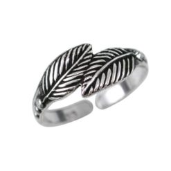 Sterling Silver 6mm Oxidised Feather Toe Ring