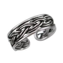 Sterling Silver 5mm Plaited Band Toe Ring