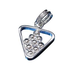 Sterling Silver 12mm Snooker Ball And Triangle Charm With Split Ring