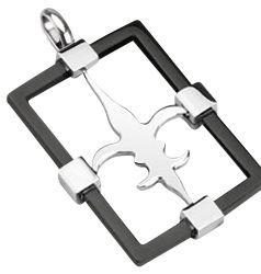 Stainless Steel 30x22mm Black Ip *his & Hers* Rectangle Pendant
