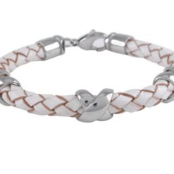 Stainless Steel 7mm White Leather Bracelet 21cm