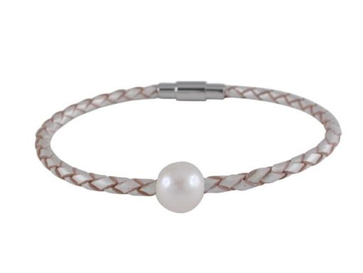 Stainless Steel 10mm Imitation Pearl On 3mm Pearl Leather Bracelet 18cm