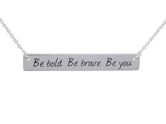 Sterling Silver 40x6mm *be Bold Be Brave Be You* Bar Necklet 40-45cm
