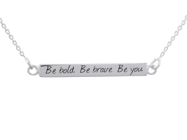 Sterling Silver 30x4mm *be Bold Be Brave Be You*  Box Bar Necklet 40-45cm
