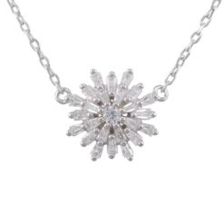 Sterling Silver 14mm White Cubic Zirconia Snowflake Necklet 40-43cm
