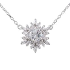 Sterling Silver 15mm White Cubic Zirconia Snowflake Necklet 40-43cm