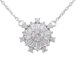Sterling Silver 13mm White Tapered Baguette Cubic Zirconia Snowflake Necklet 40-43cm