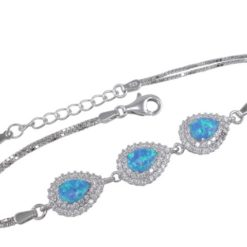 Sterling Silver 10mm Teardrop  Blue Synthetic Opal & White Cubic Zirconia Bracelet 17-19cm