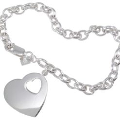 Sterling Silver 22mm Heart On 5mm Belcher Bracelet 19cm