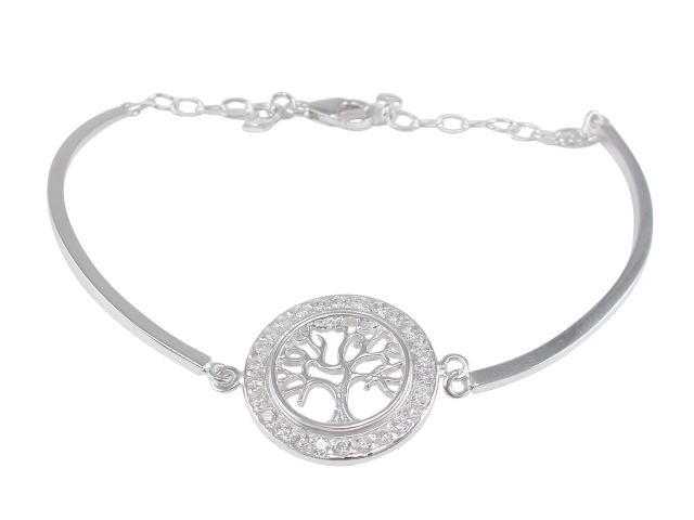 Sterling Silver 19mm White Cubic Zirconia Tree Of Life On 2mm Semi Circle Bracelet 19cm