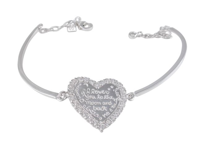 Sterling Silver 21mm White Cubic Zirconia Heart *love You To The Moon & Back* On 2mm Semi Circle Bracelet 19cm