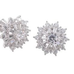 Sterling Silver 13mm White Cubic Zirconia Starburst Stud Earrings