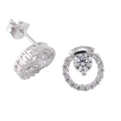 Sterling Silver 9mm Round White Cubic Zirconia Stud Earrings